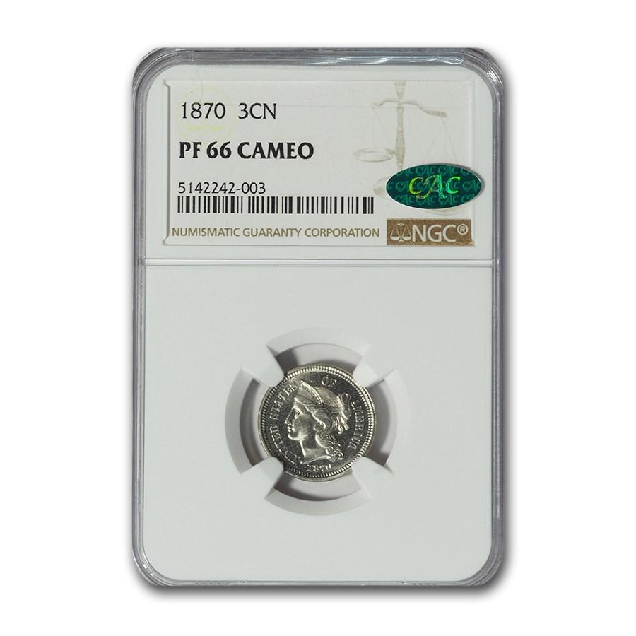 1870 Three Cent Nickel PF-66 Cameo NGC CAC