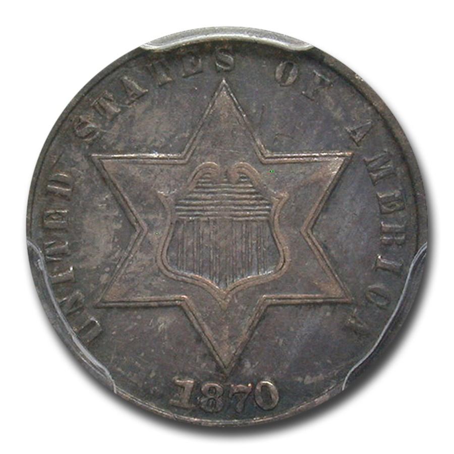 1870 Three Cent Silver XF-45 PCGS