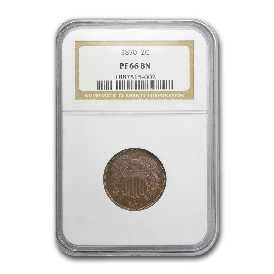 1870 Two Cent Piece PF-66 NGC (Brown)