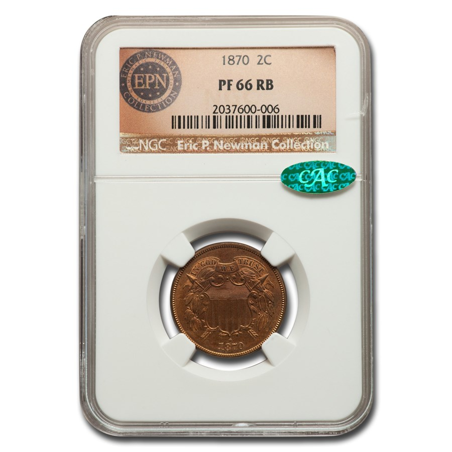 1870 Two Cent Piece PF-66 NGC CAC (Red/Brown)