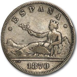 1870(73) DE-M Spain Silver 2 Pesetas VF+
