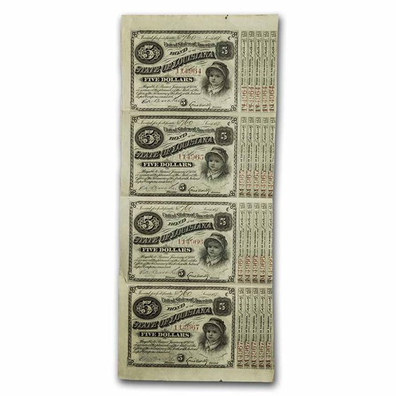 1870s State of Louisiana 'Baby Bonds' $5.00 XF (#29) (Sheet of 4)