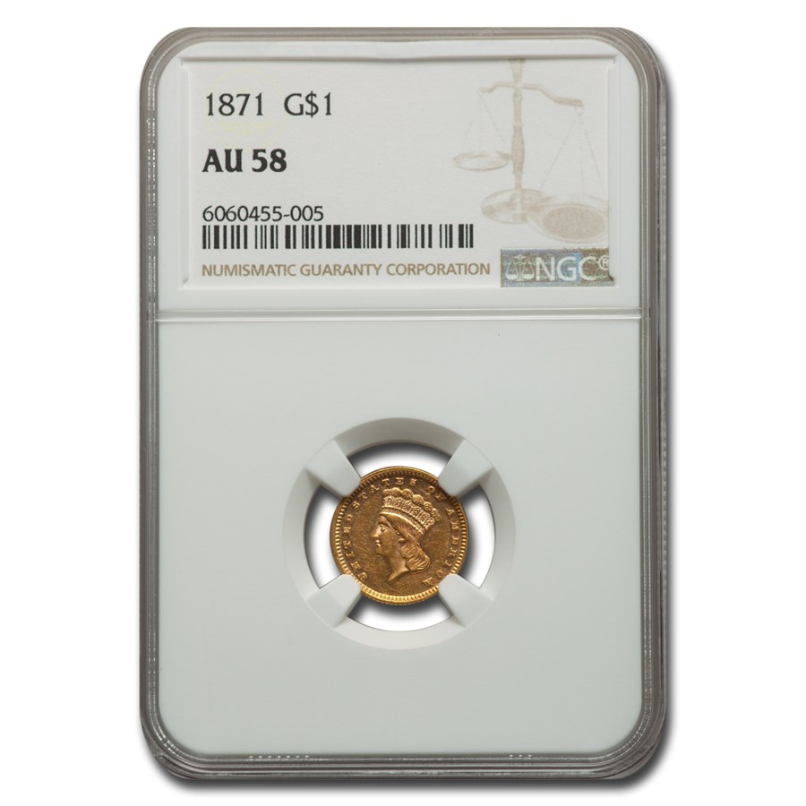 1871 $1 Indian Head Gold AU-58 NGC