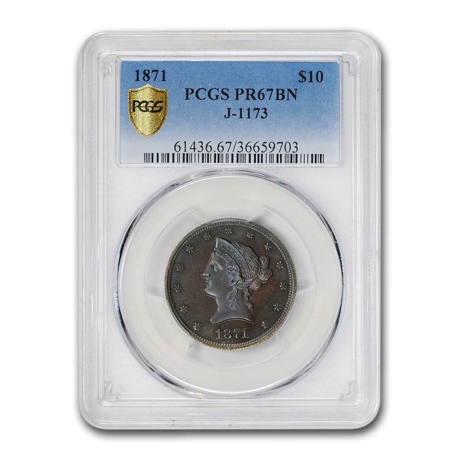 1871 $10 Gold Pattern PR-67 Brown PCGS (Judd-1173)