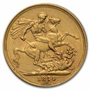 1871-1887-S Australia Gold Sovereign Young Victoria AU