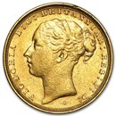 1871-1887-S Australia Gold Sovereign Young Victoria Avg Circ