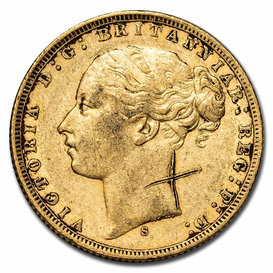 1871-1887-S Australia Gold Sovereign Young Victoria XF (Scruffy)