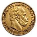 1871-1888 Germany Gold 20 Marks Prussia Wilhelm I Avg Circ