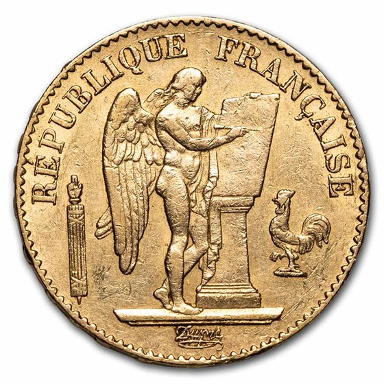 1871-1898 France Gold 20 Francs Lucky Angel (AU)