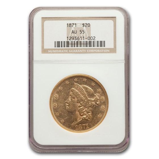 1871 $20 Liberty Gold Double Eagle AU-55 NGC
