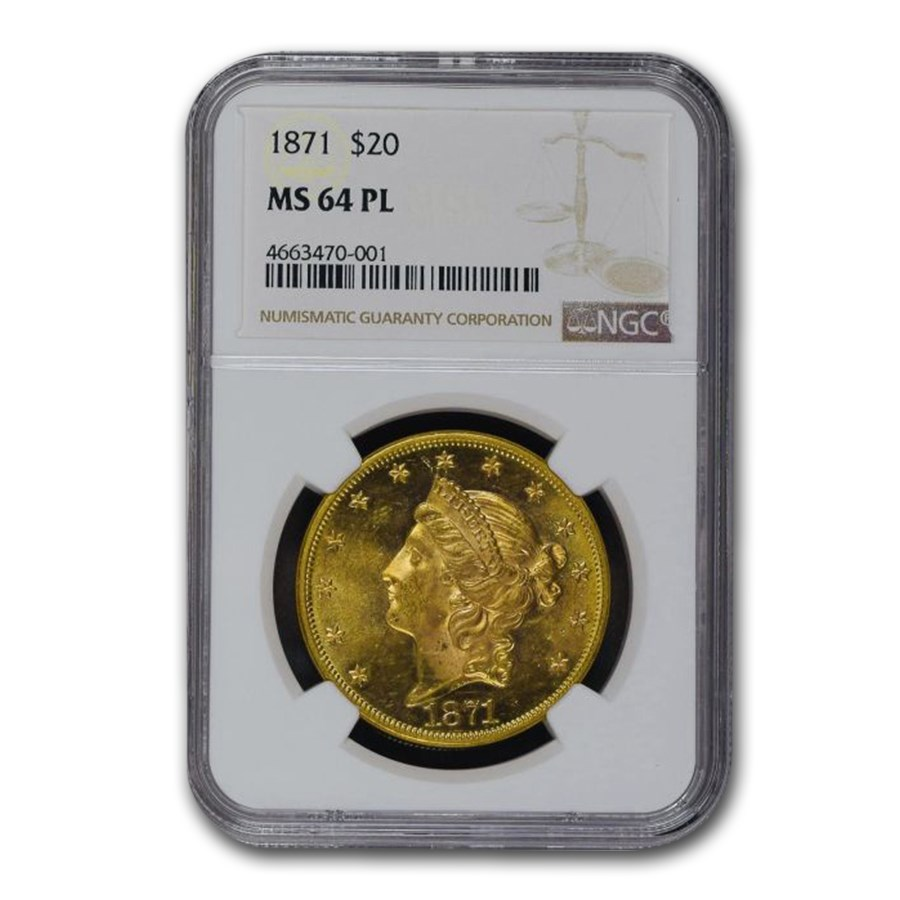 1871 $20 Liberty Gold Double Eagle MS-64 NGC (PL)