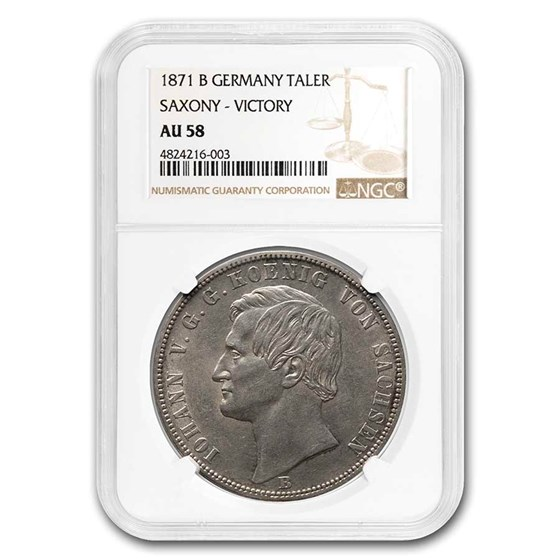 1871-B Germany Saxony Silver Taler AU-58 NGC