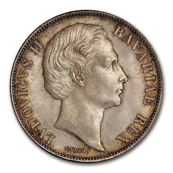 1871 German State Bavaria Silver Thaler Ludwig II MS-66 PCGS
