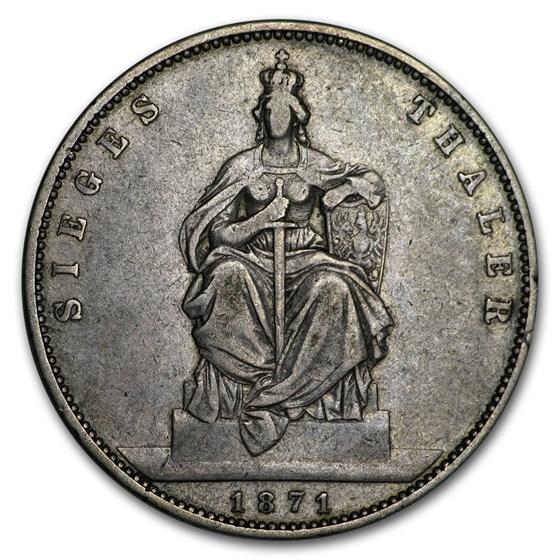 1871 German State Bavaria Silver Thaler Ludwig II VF