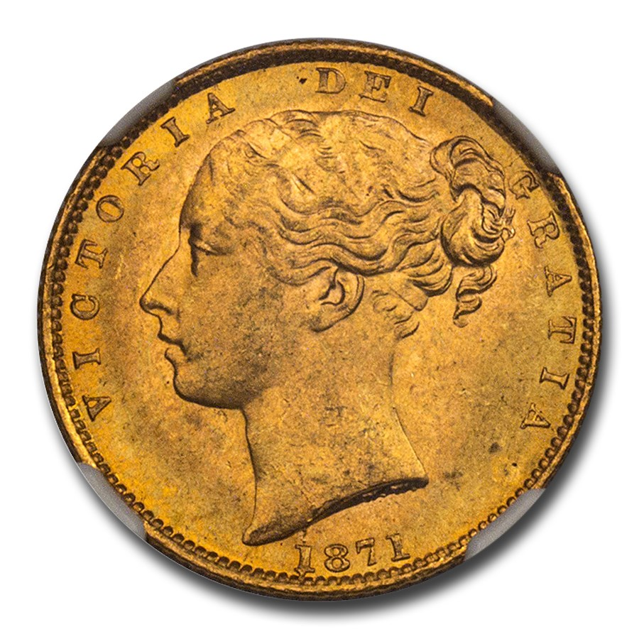 1871 Great Britain Gold Sovereign Victoria Shield MS-64+ NGC D29