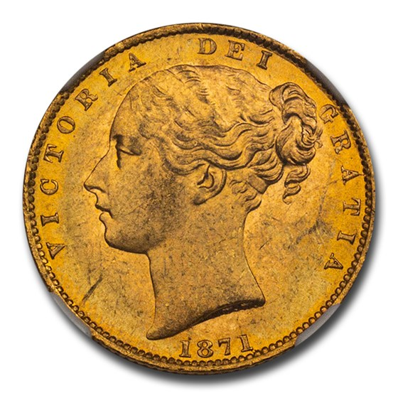 1871 Great Britain Gold Sovereign Victoria Shield MS-64 NGC D30