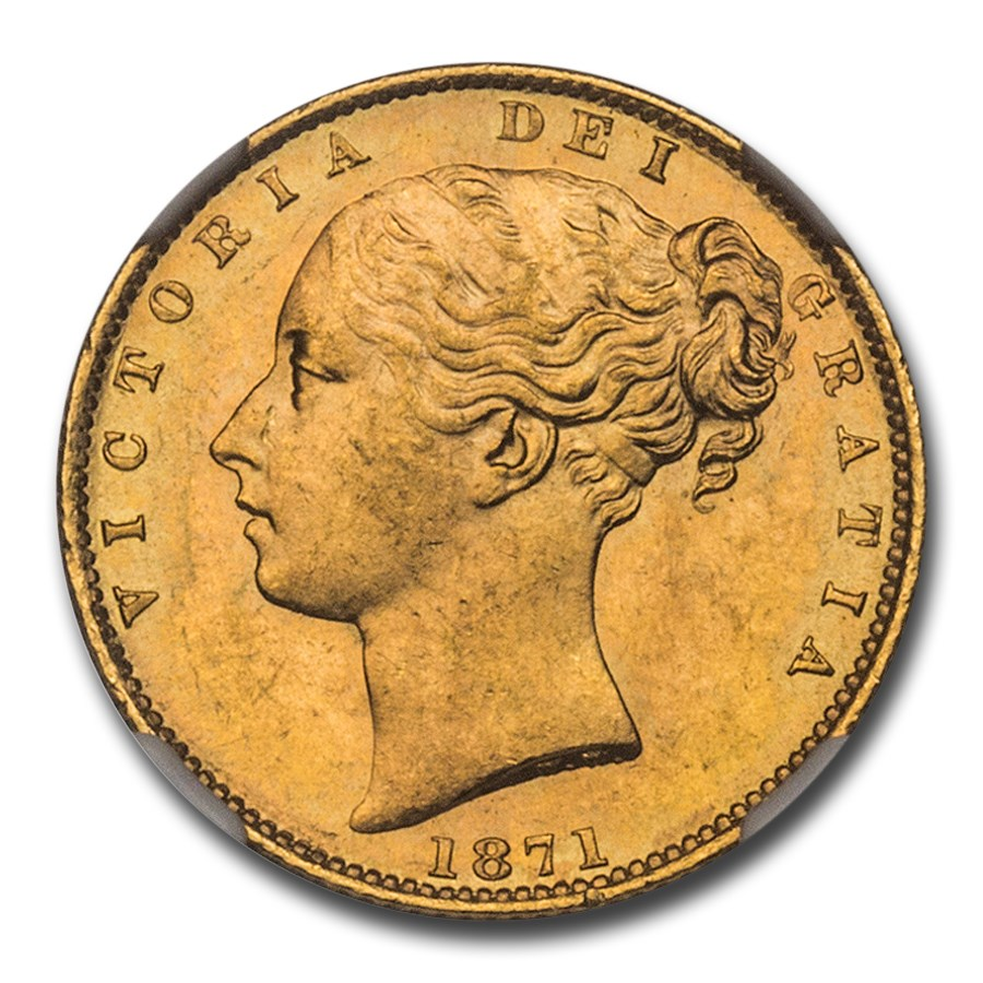 1871 Great Britain Gold Sovereign Victoria Shield MS-64+ NGC D50