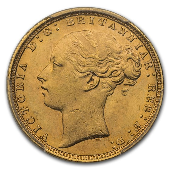 1871 Great Britain Gold Sovereign Victoria Shield MS-64+ PCGS
