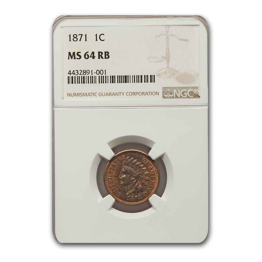 1871 Indian Head Cent MS-64 NGC (Red/Brown)