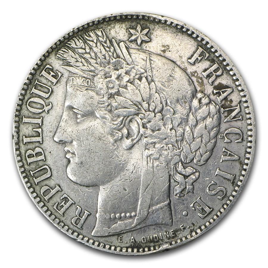 1871-K France Silver 5 Francs Ceres Head EF