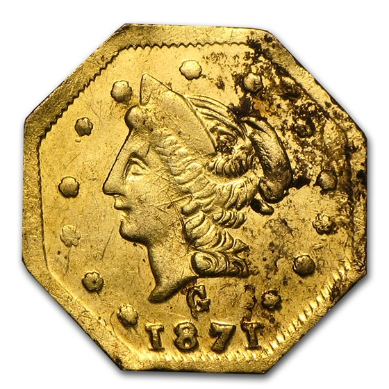 1871 Liberty Octagonal 50 Cent Gold AU (BG-924)