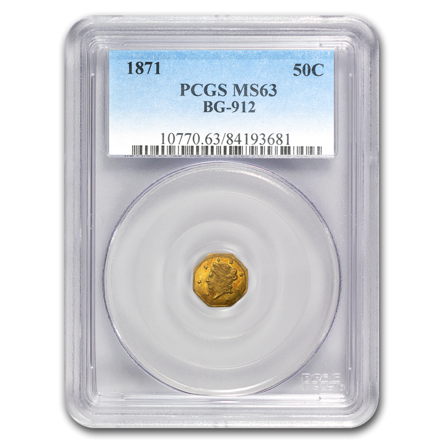 1871 Liberty Octagonal 50 Cent Gold MS-63 PCGS (BG-912)