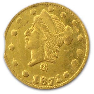 1871 Liberty Round 25 Cent Gold MS-61 (BG-838, Clipped Planchet)