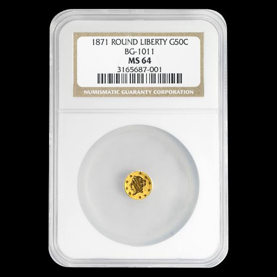 1871 Liberty Round 50¢ Gold MS-64 NGC (BG-1011)