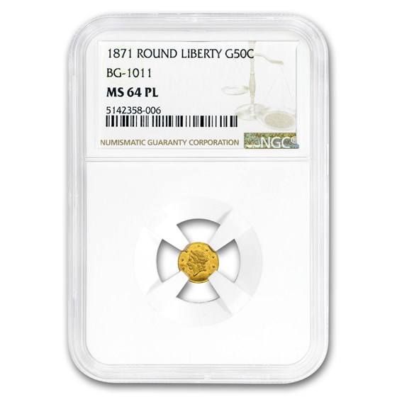 1871 Liberty Round 50¢ Gold MS-64 PL NGC (BG-1011)