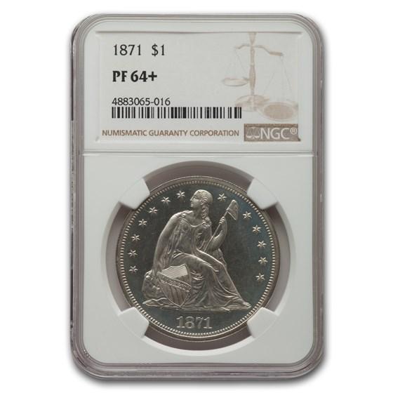 1871 Liberty Seated Dollar PF-64+ NGC