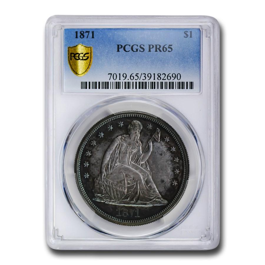 1871 Liberty Seated Dollar PR-65 PCGS