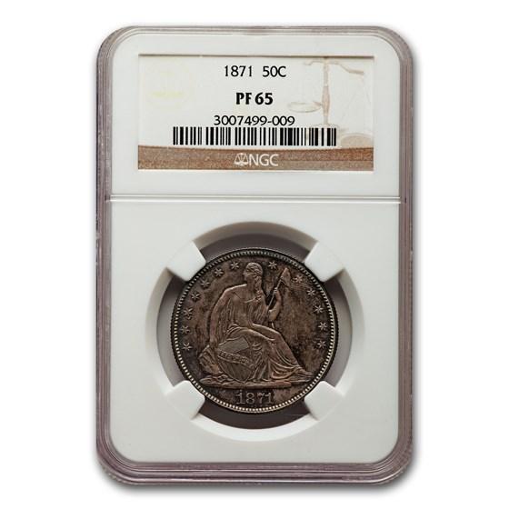1871 Liberty Seated Half Dollar PF-65 NGC