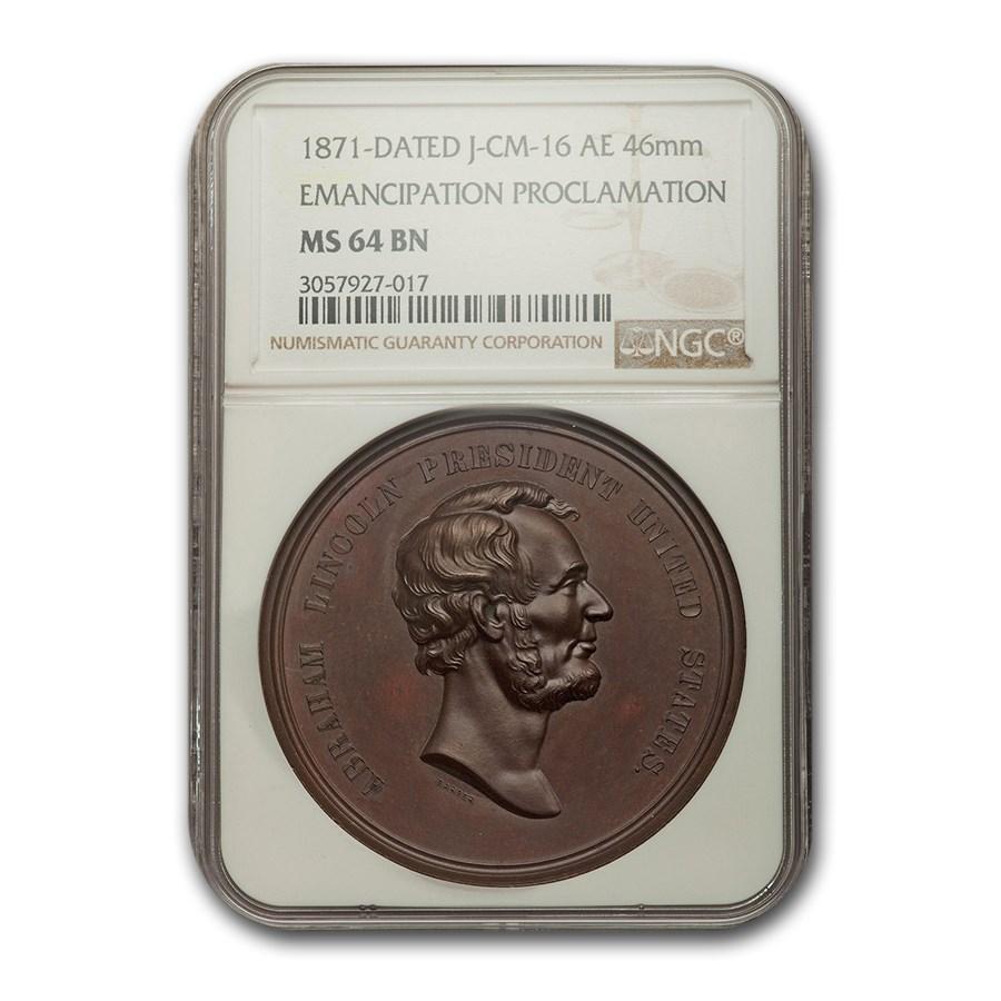 1871 Lincoln Emancipation Proclamation Medal MS-64 NGC (Brown)