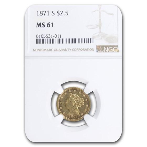 1871-S $2.50 Liberty Gold Quarter Eagle MS-61 NGC