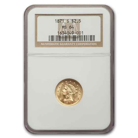 1871-S $2.50 Liberty Gold Quarter Eagle MS-64 NGC