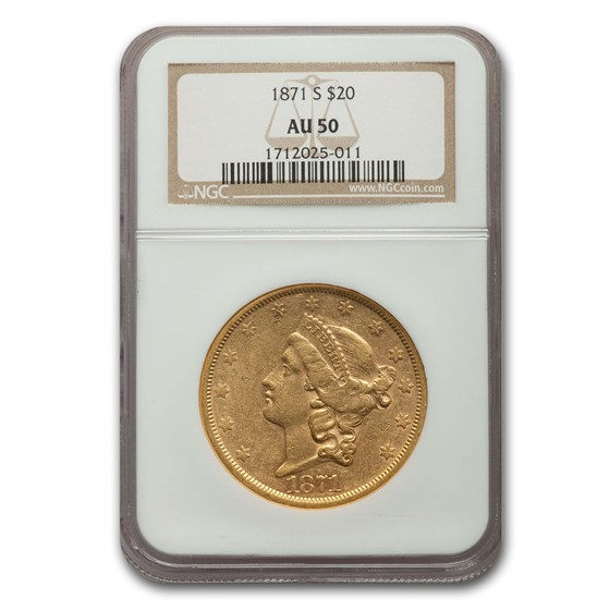 1871-S $20 Liberty Gold Double Eagle AU-50 NGC