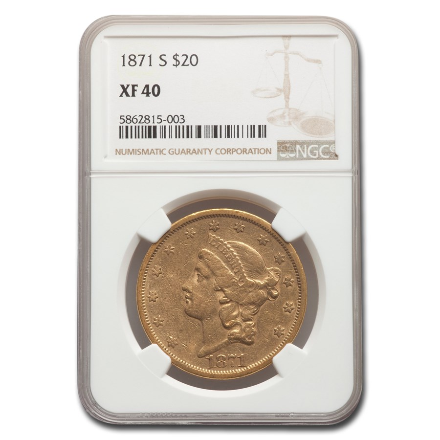 1871-S $20 Liberty Gold Double Eagle XF-40 NGC