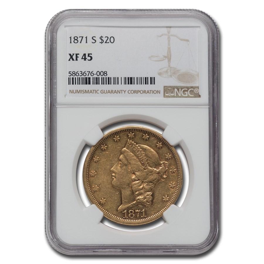 1871-S $20 Liberty Gold Double Eagle XF-45 NGC