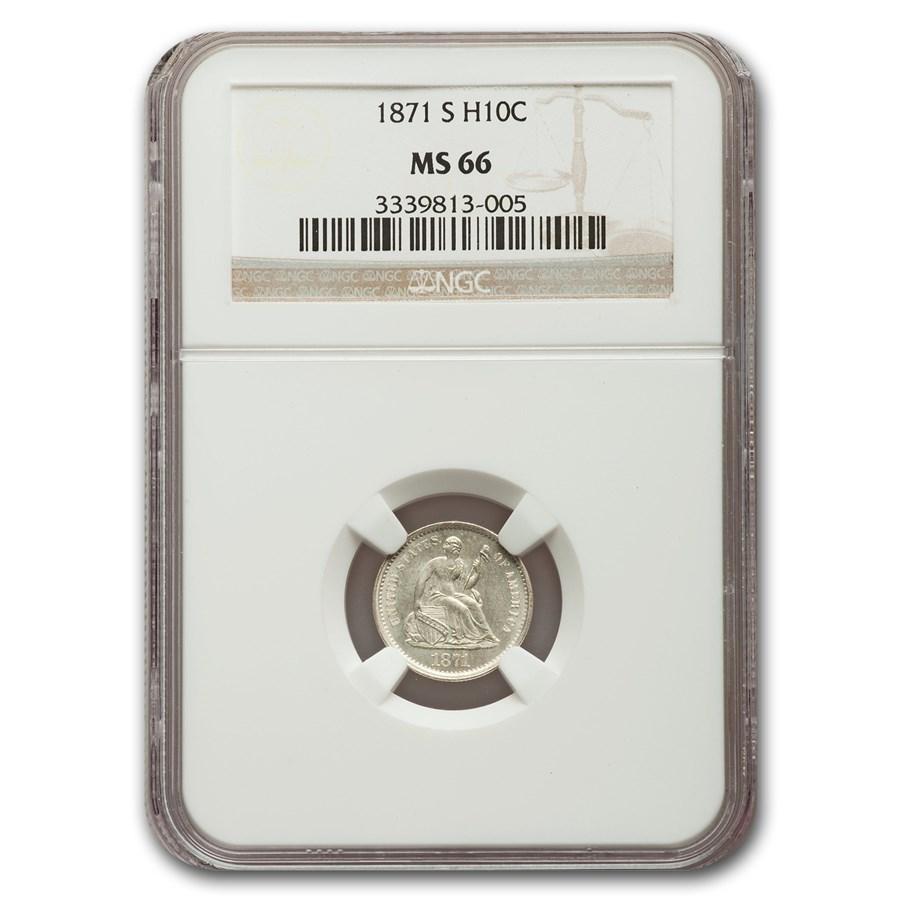 1871-S Liberty Seated Half Dime MS-66 NGC