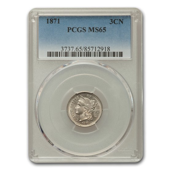 1871 Three Cent Nickel MS-65 PCGS