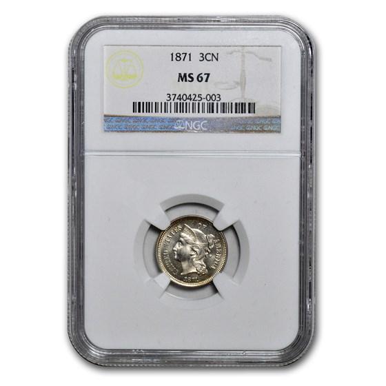1871 Three Cent Nickel MS-67 NGC