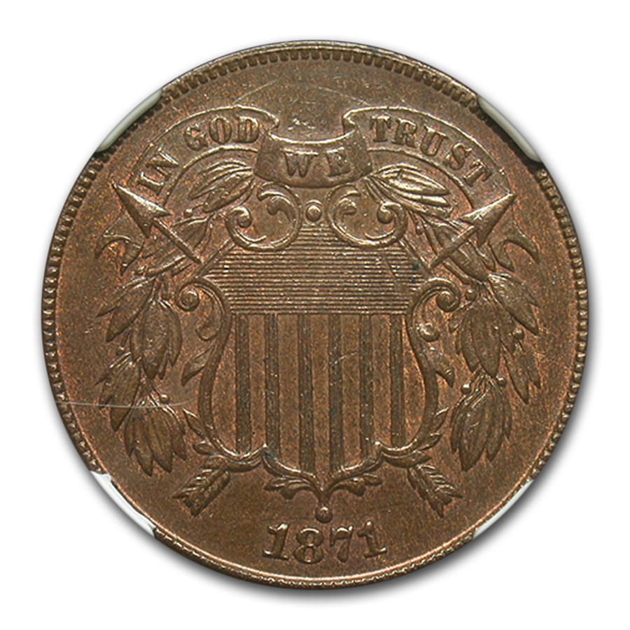 1871 Two Cent Piece AU-58 NGC