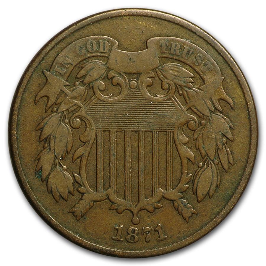 1871 Two Cent Piece Fine