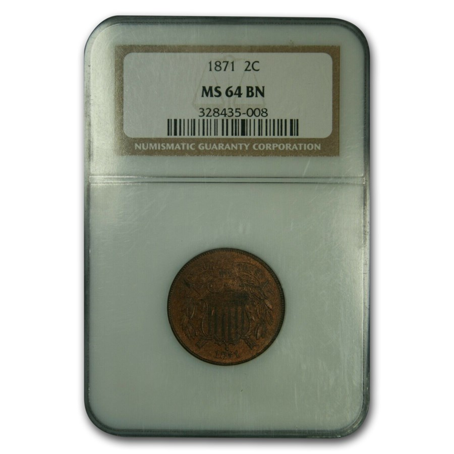 1871 Two Cent Piece MS-64 NGC (Brown)