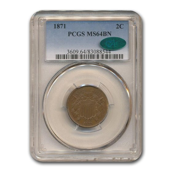 1871 Two Cent Piece MS-64 PCGS CAC (Brown)