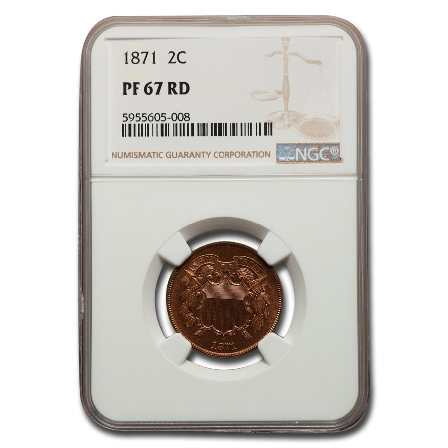 1871 Two Cent Piece PF-67 NGC (Red)