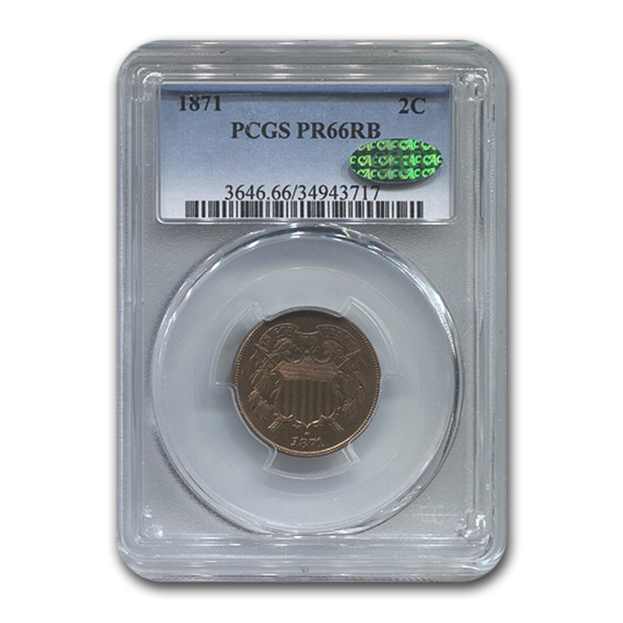 1871 Two Cent Piece PR-66 PCGS CAC (Red/Brown)