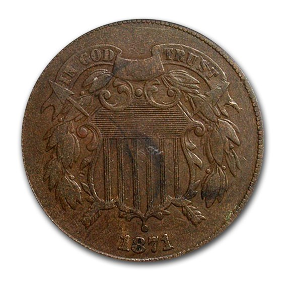 1871 Two Cent Piece VF-20 PCGS