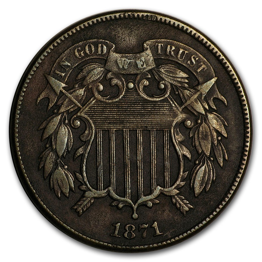 1871 Two Cent Piece VF