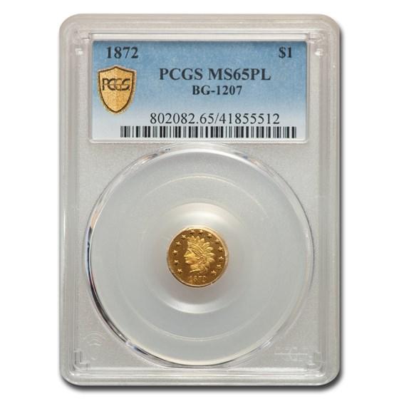 1872 $1.00 Indian Round Gold MS-65 PCGS (PL, BG-1207)